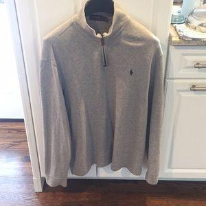Ralph Lauren Mens Polo 1/4 zip sweater Gray